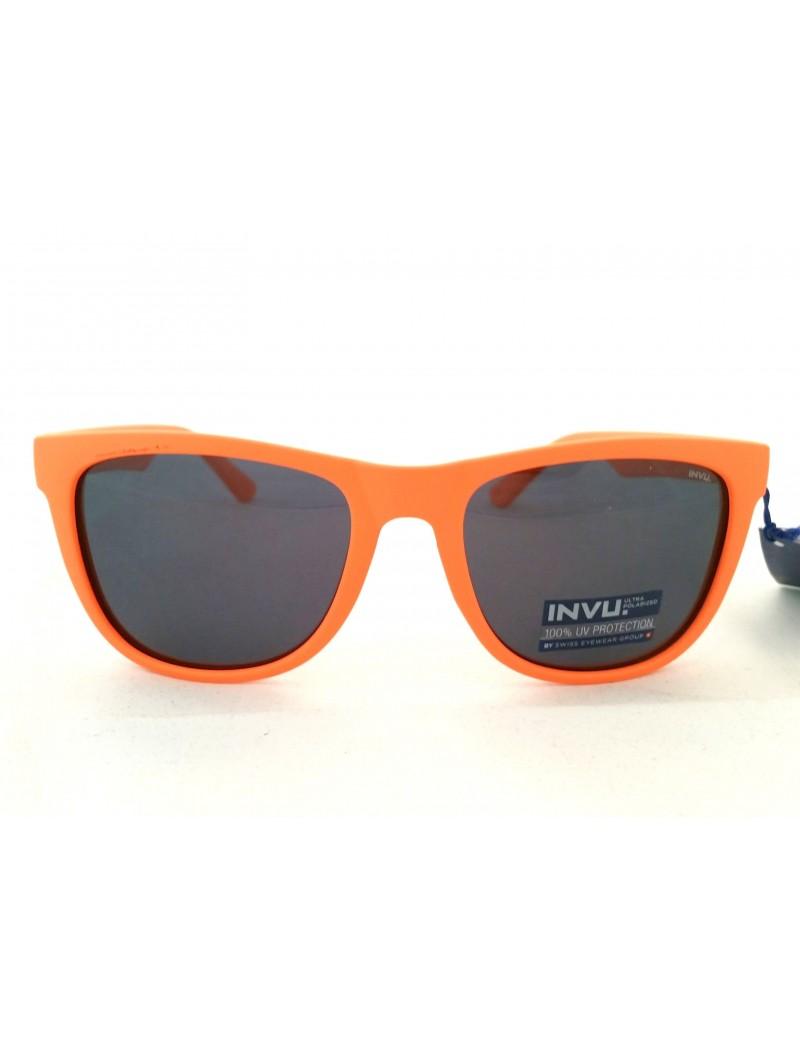 Occhiale da sole INVU modello T2612G colore arancione fluo gommato